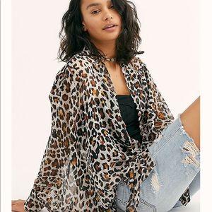 🐆Free People Amazon Tie Cheetah Blouse🐆